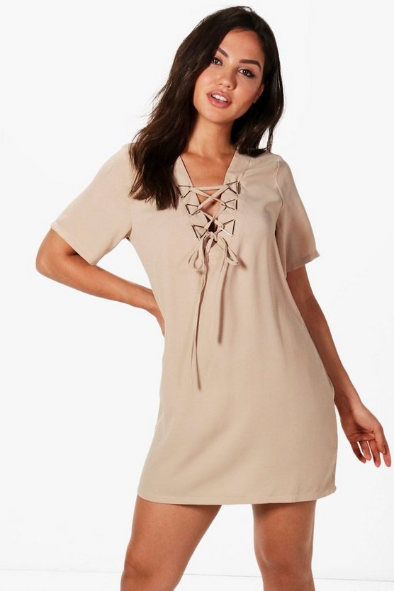 Emilie Triangle Metal Detail Lace Up Shift Dress
