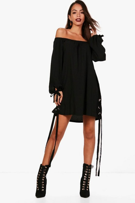 Leanna Off Shoulder Eyelet Shift Dress