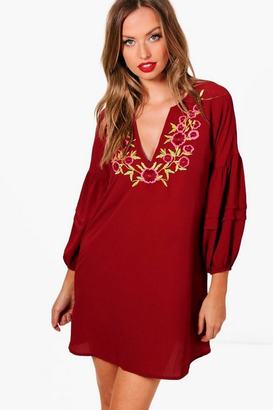 Ellie Embroidered V Neck Smock Dress