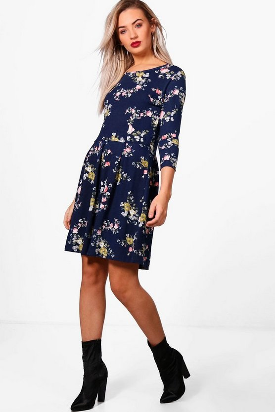 Hayley Floral Brushed Knit Skater Dress