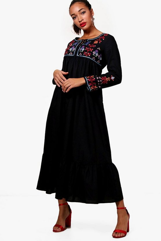 Claire Embroidered Midaxi Dress