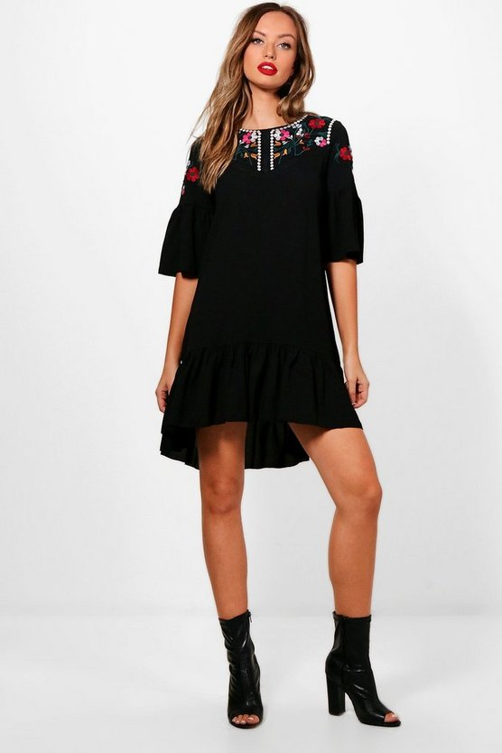 Embroidered Folk Shift Dress
