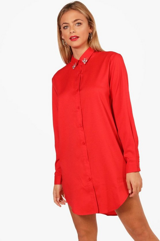 Freya Embellished Collar Shirt Dress