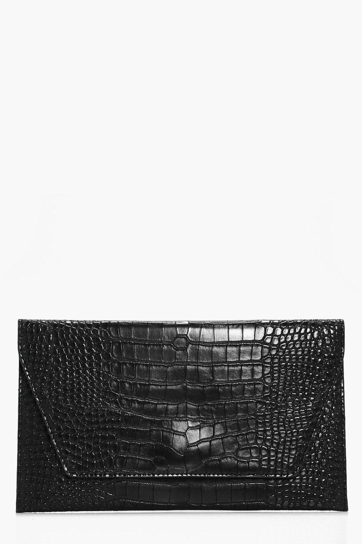Croc Envelope Clutch - black - Jessica Croc Envelo