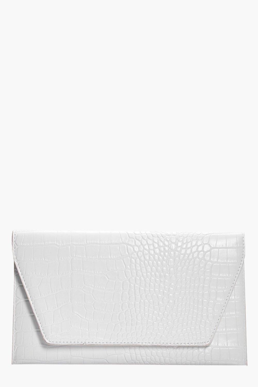 Croc Envelope Clutch - white - Jessica Croc Envelo