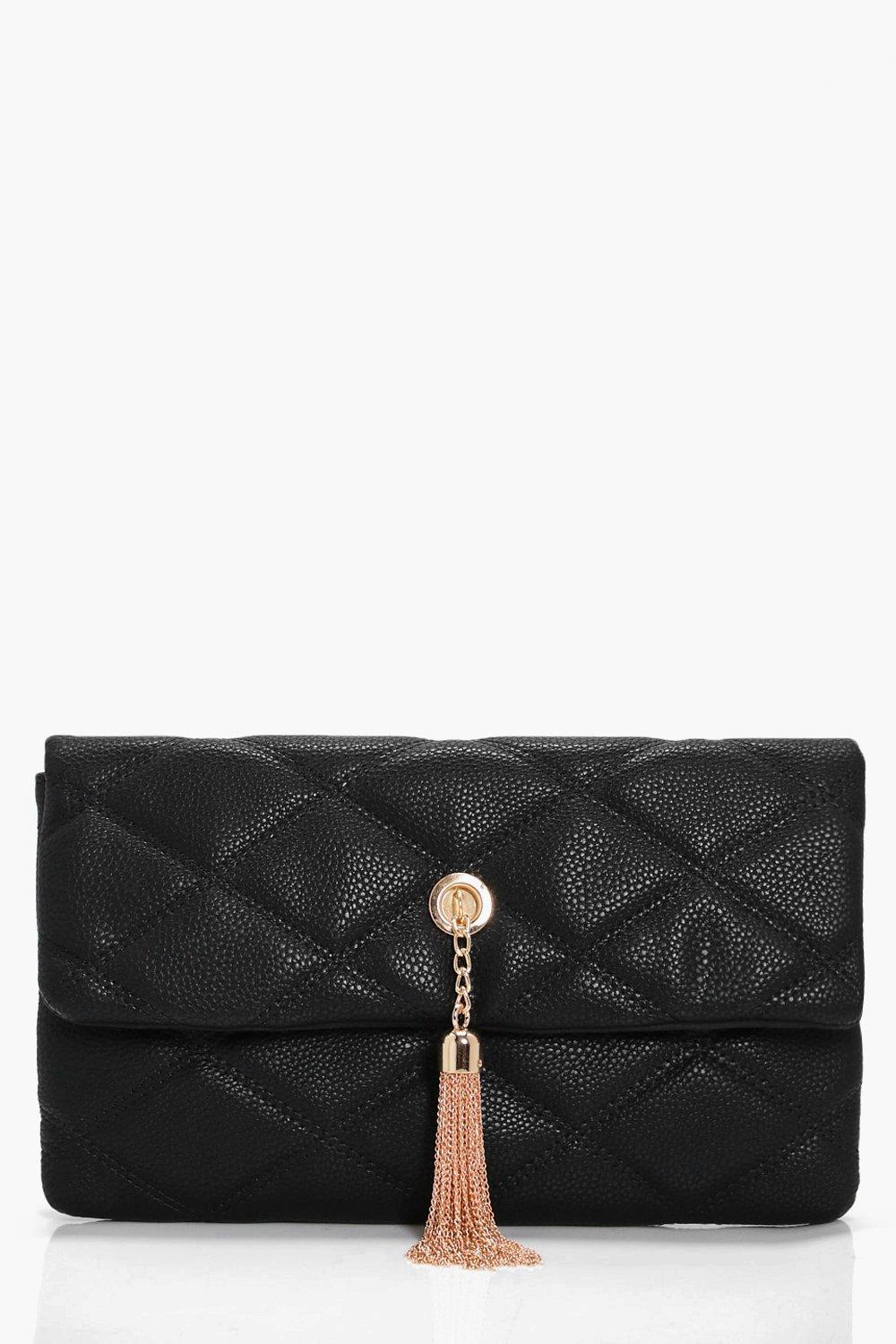 Quilted Metal Tassel Cross Body Bag - black - Laur