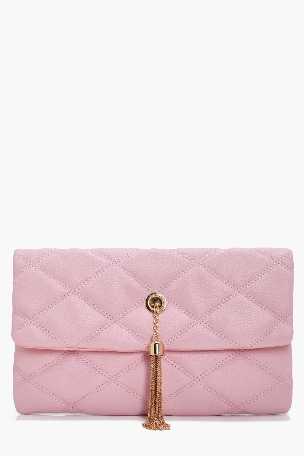 Quilted Metal Tassel Cross Body Bag - nude - Laure