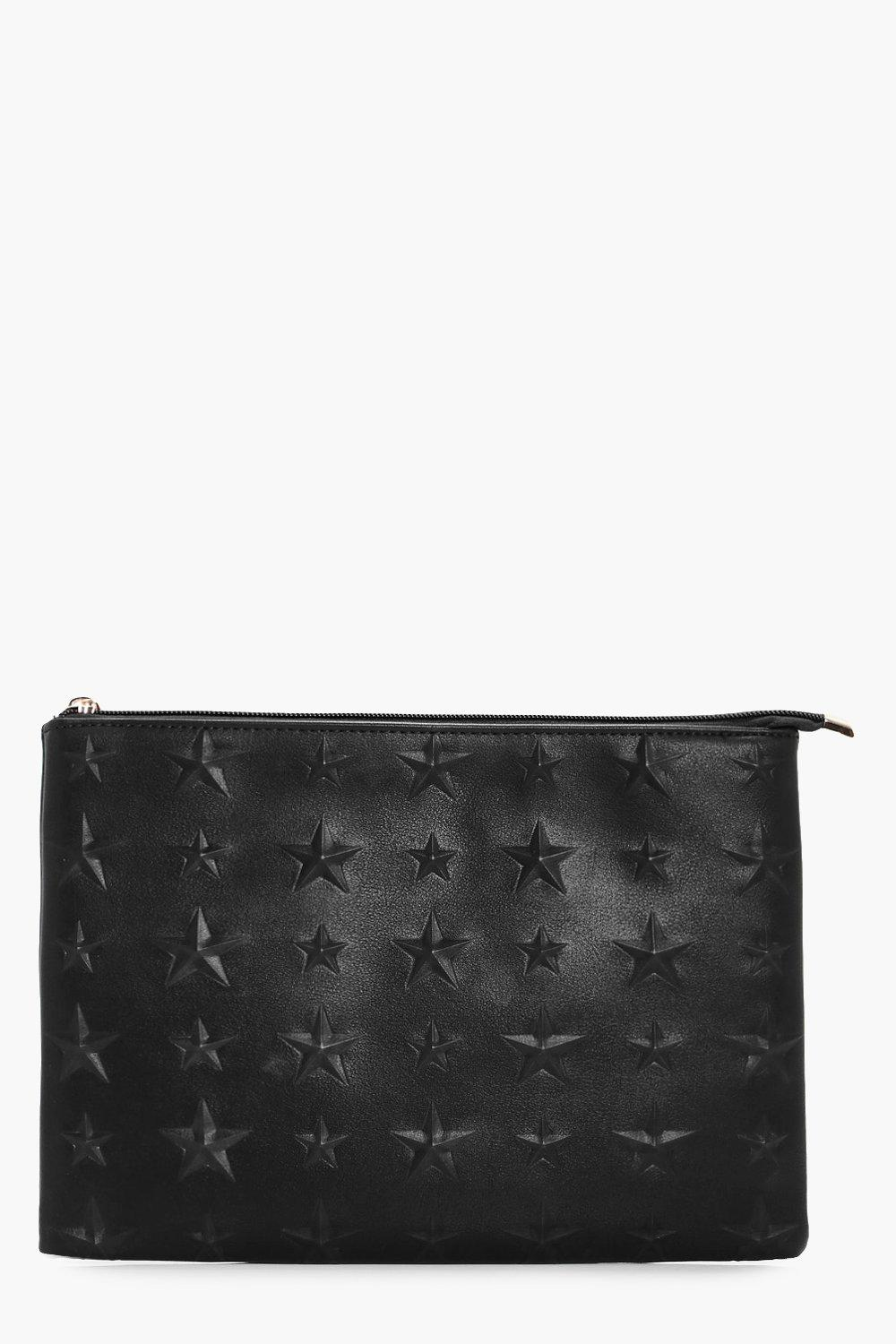 Embossed Star Zip Top Clutch - black - Skye Emboss