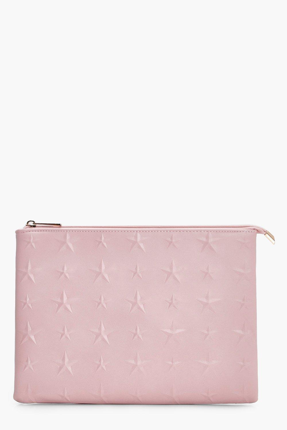 Embossed Star Zip Top Clutch - blush - Skye Emboss