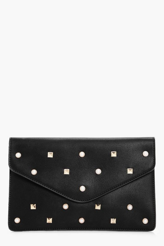 Maya Pearl And Stud Clutch Bag