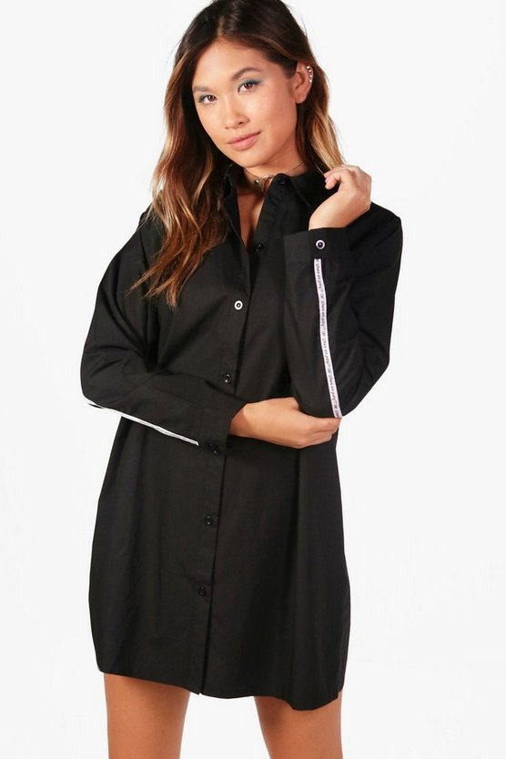Sarah Slogan Tape Shirt Dress