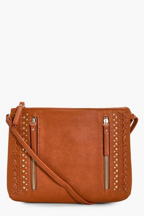 Lola Zip Stud And Lattice Cross Over Bag