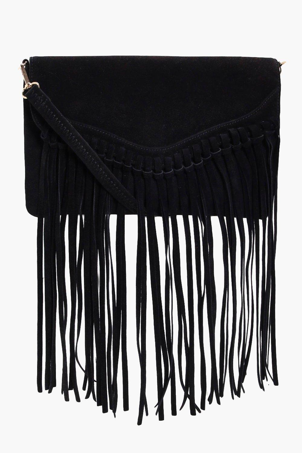 Fringed Suedette Cross Body Bag - black - Emily Fr