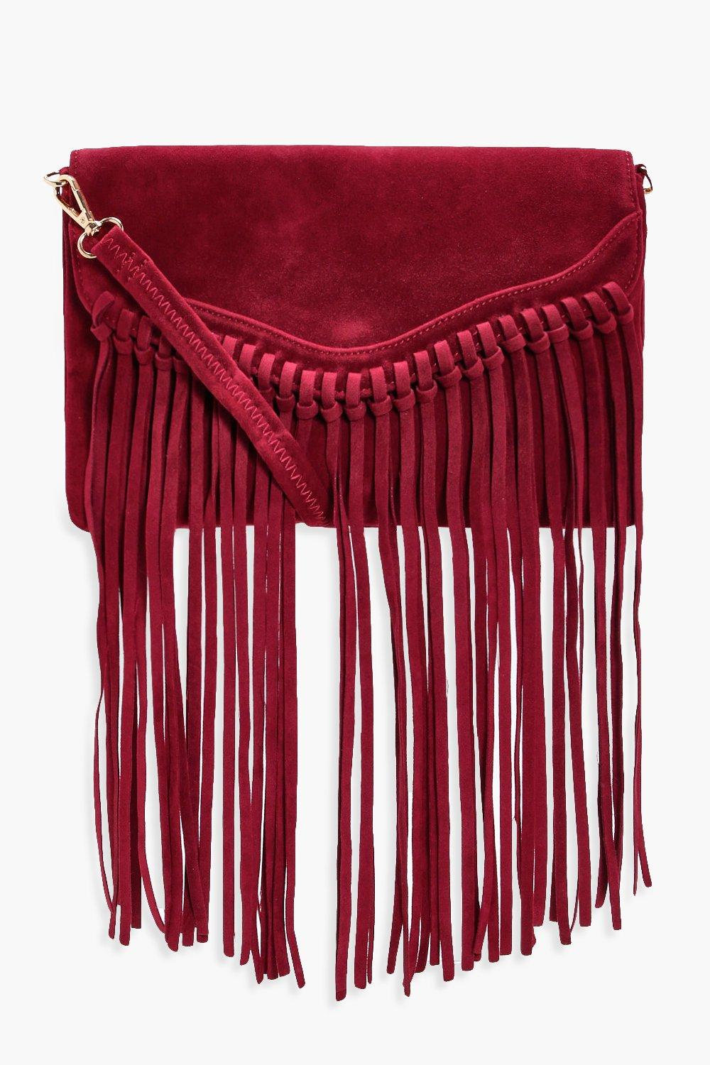 Fringed Suedette Cross Body Bag - wine - Emily Fri