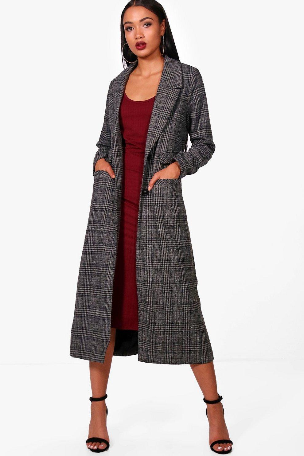 Sophie Maxi Check Wool Coat   Boohoo