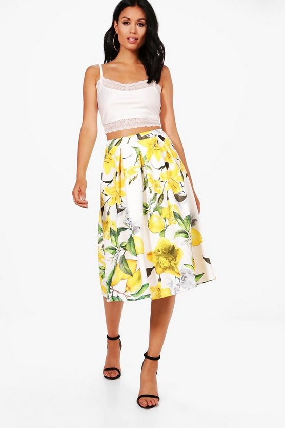 Saskia Lemon Print Box Pleat Full Midi Skirt