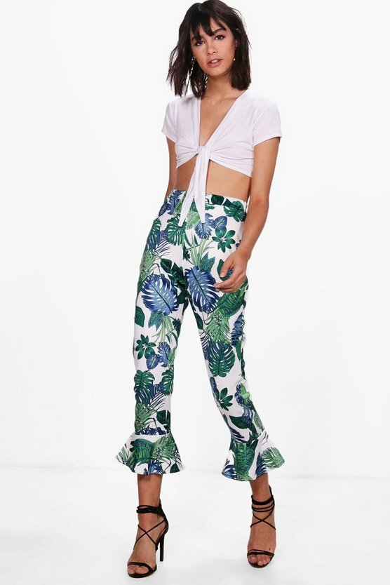 Gabriella Large Palm Ruffle Hem Trousers