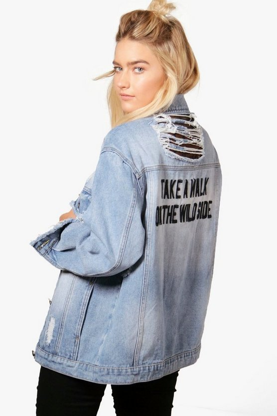 Alisa Lace Insert Slash Back Denim Jacket
