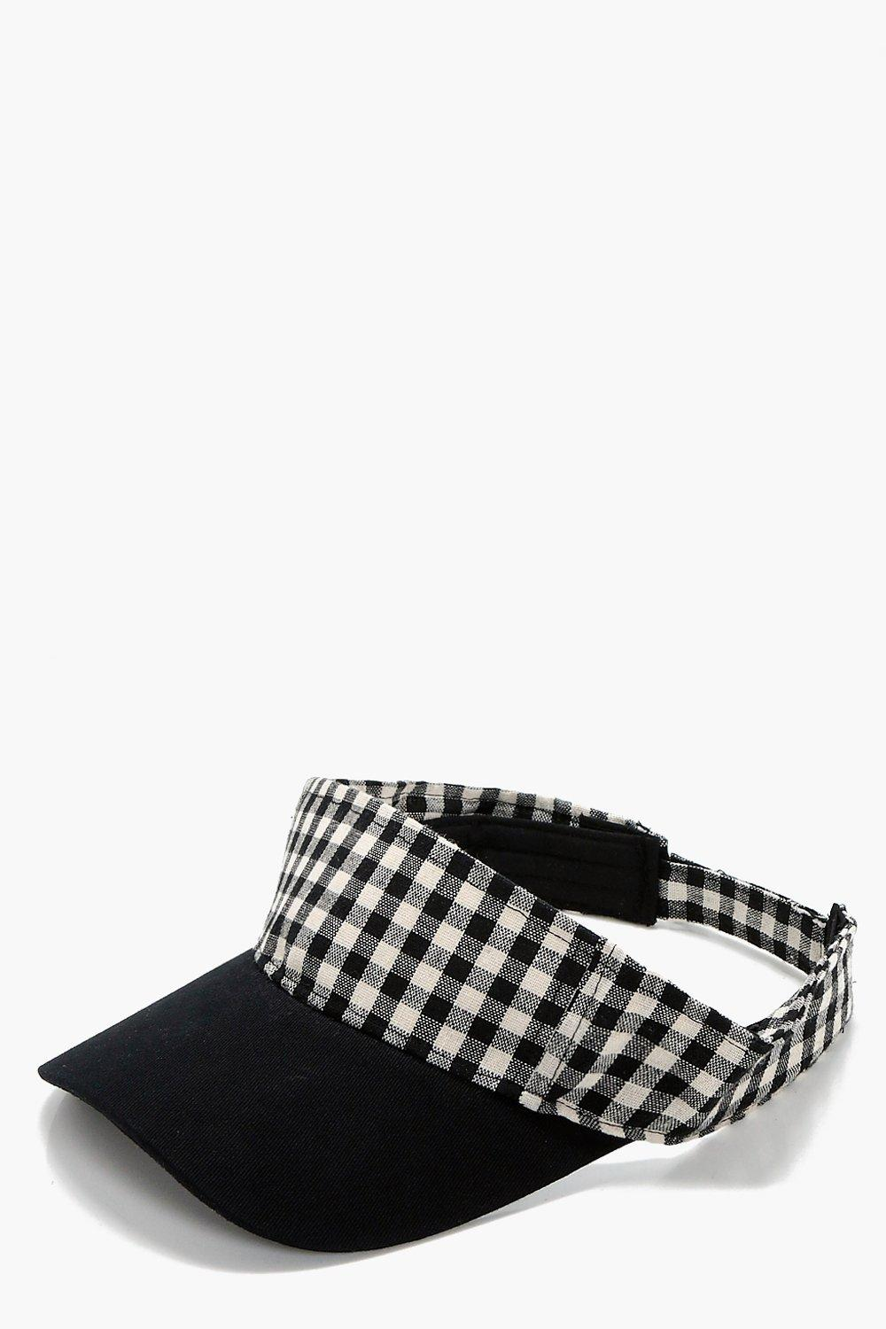 Gingham Trim Visor Cap - black - Olivia Gingham Tr
