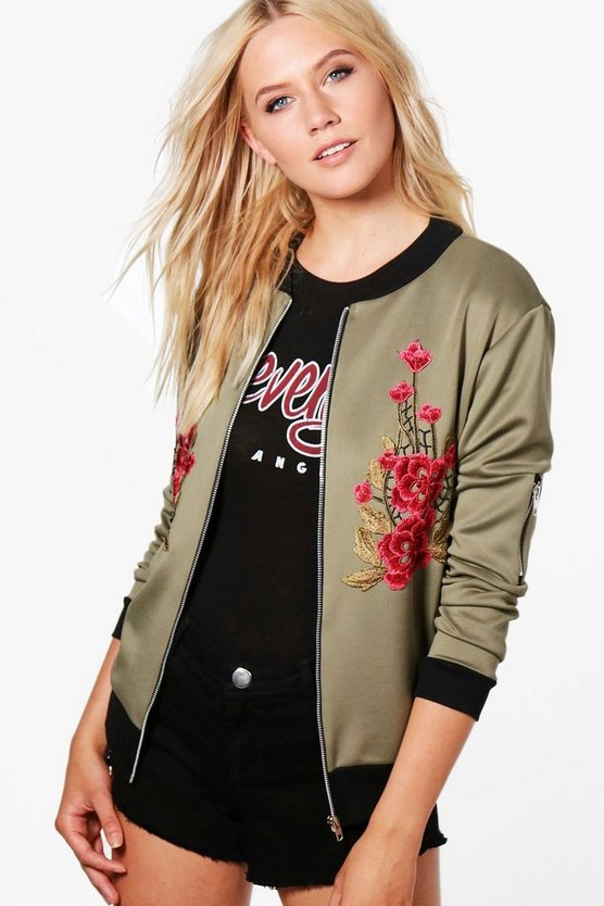 Alicia Floral Applique Bomber