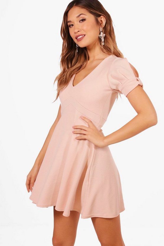 Sleeve Detail Skater Dress