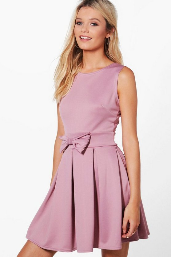 Ruth Bow Front Pleat Skirt Skater Dress