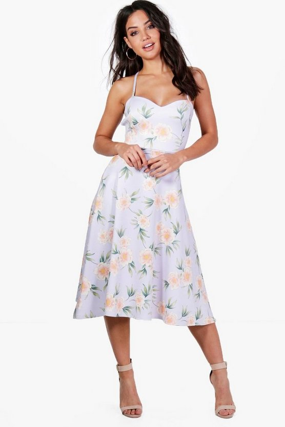 Thea Foral Tie Back Midi Skater Dress
