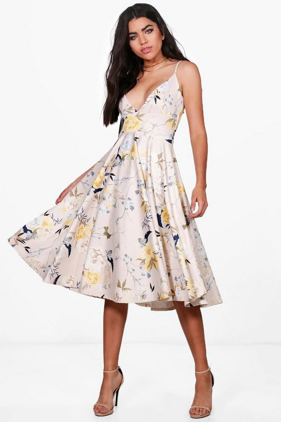 Cait Light Floral Strappy Frill Skirt Skater Dress