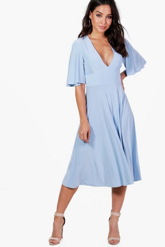 Daniella Angel Sleeve Midi Skater Dress