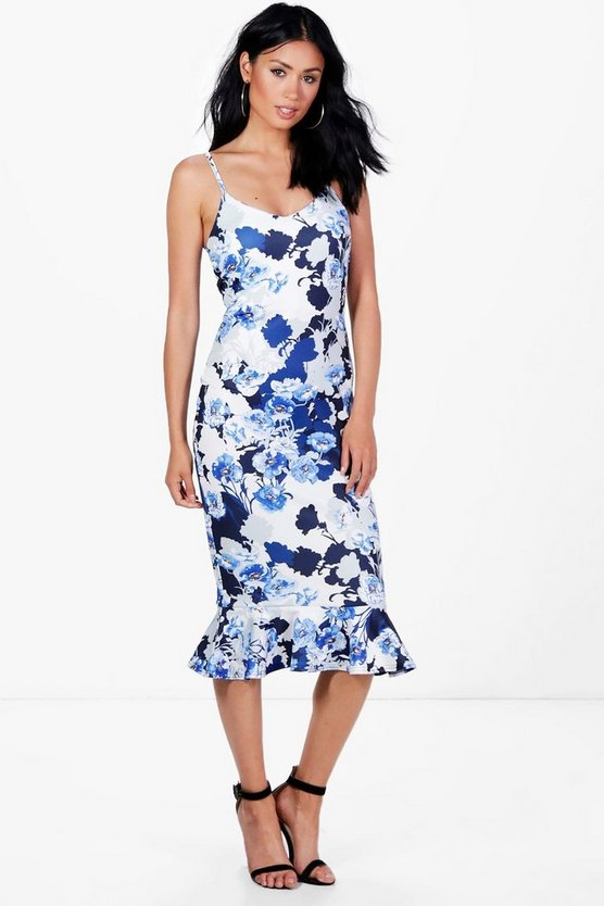 Peplum Hem Blue Print Midi Dress