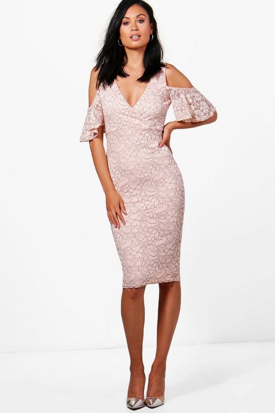 Hazel Lace Cold Shoulder Midi Dress