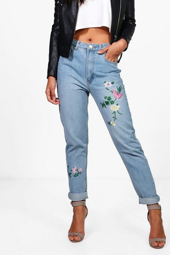 Sophie High Waist Embroidered Leg Mom Jeans