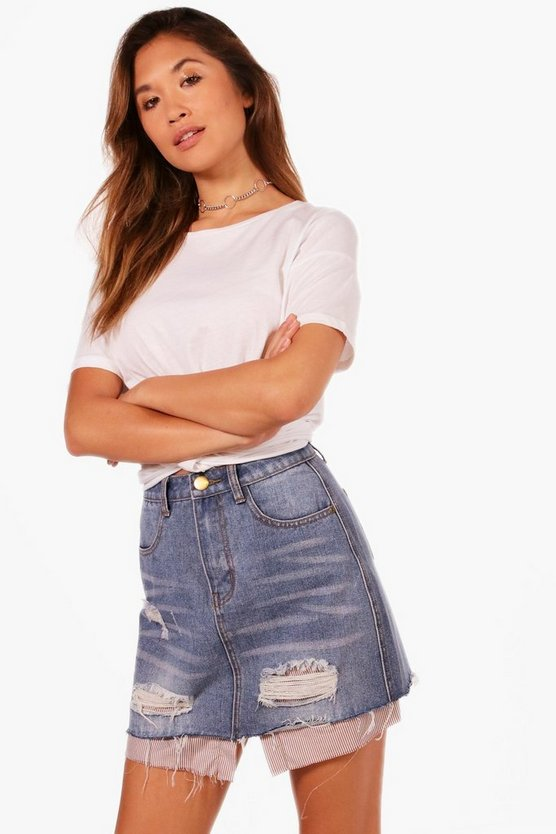 Helen Mock Layer Denim Skirt