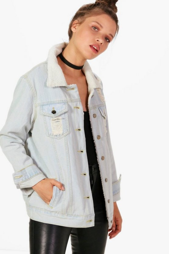 Jennifer Oversize Distressed Borg Lined Denim Jacket