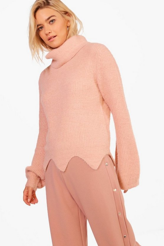 Lottie Scallop Hem Roll Neck Soft Knit Jumper