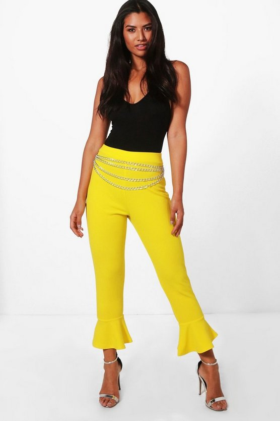 Lucy Crepe Ruffle Hem Skinny Trousers