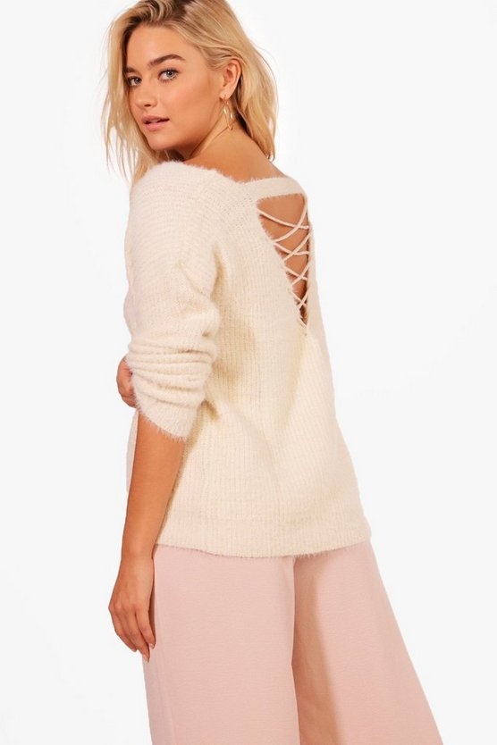 Sarah Lace Up Back Soft Knit Jumper