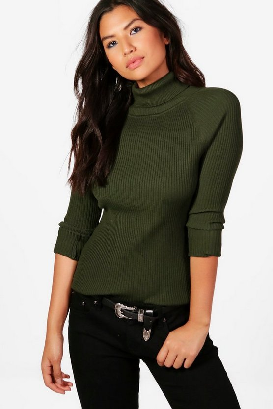 Phoebe Rib Knit Roll Neck Jumper