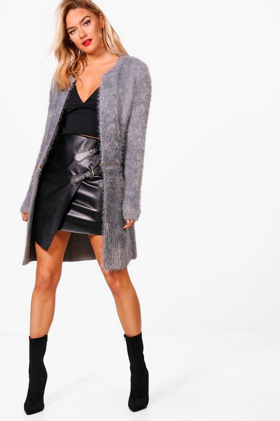 Joanna Fluffy Zip Hem Cardigan