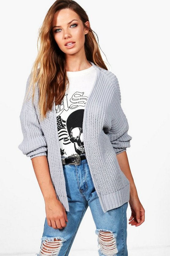 Julia Dropped Shoulder Cropped Oversized Cardigan