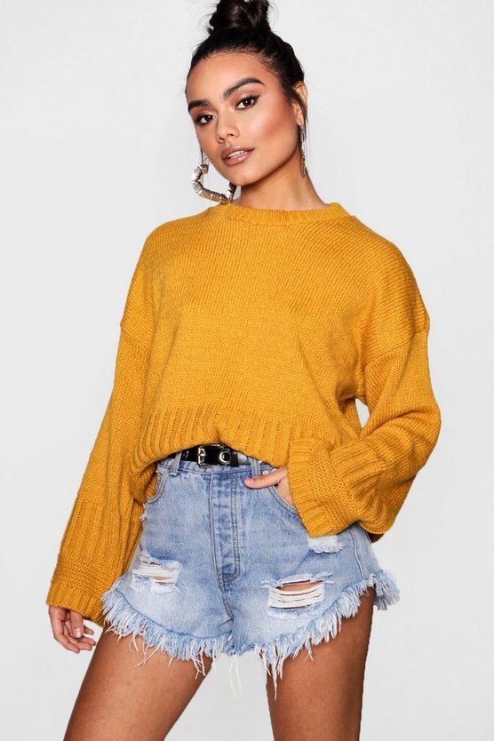 Harriet Oversized Rib Edge Wide Sleeve Jumper