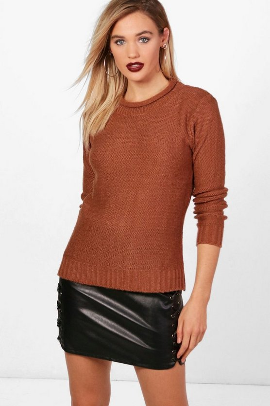 Brooke Loose Stitch Curve Neck Jumper