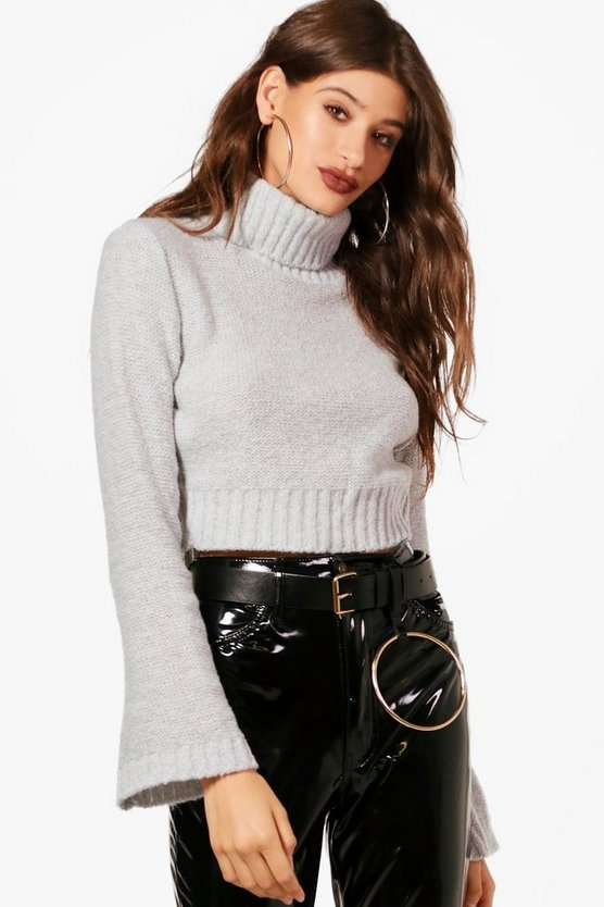 Millie Wide Sleeve Roll Neck Crop Jumper