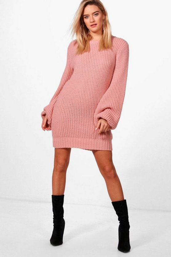 Blouson Sleeve Soft Knit Jumper Dress