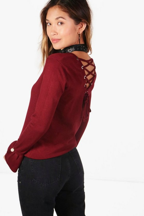 Brooke Lace Up Back Fine Knit Jumper