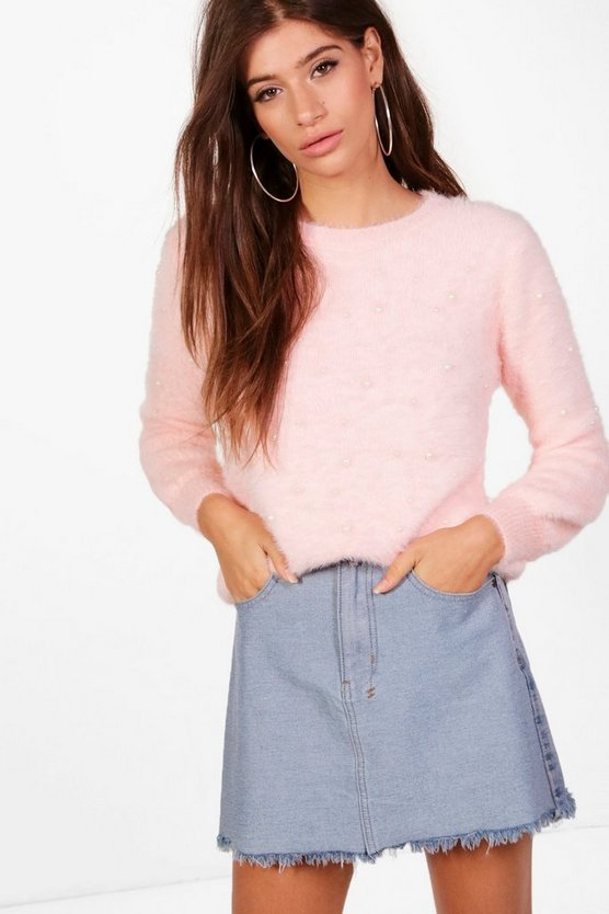 Louise Fluffy Knit Detail Embellished Jumper