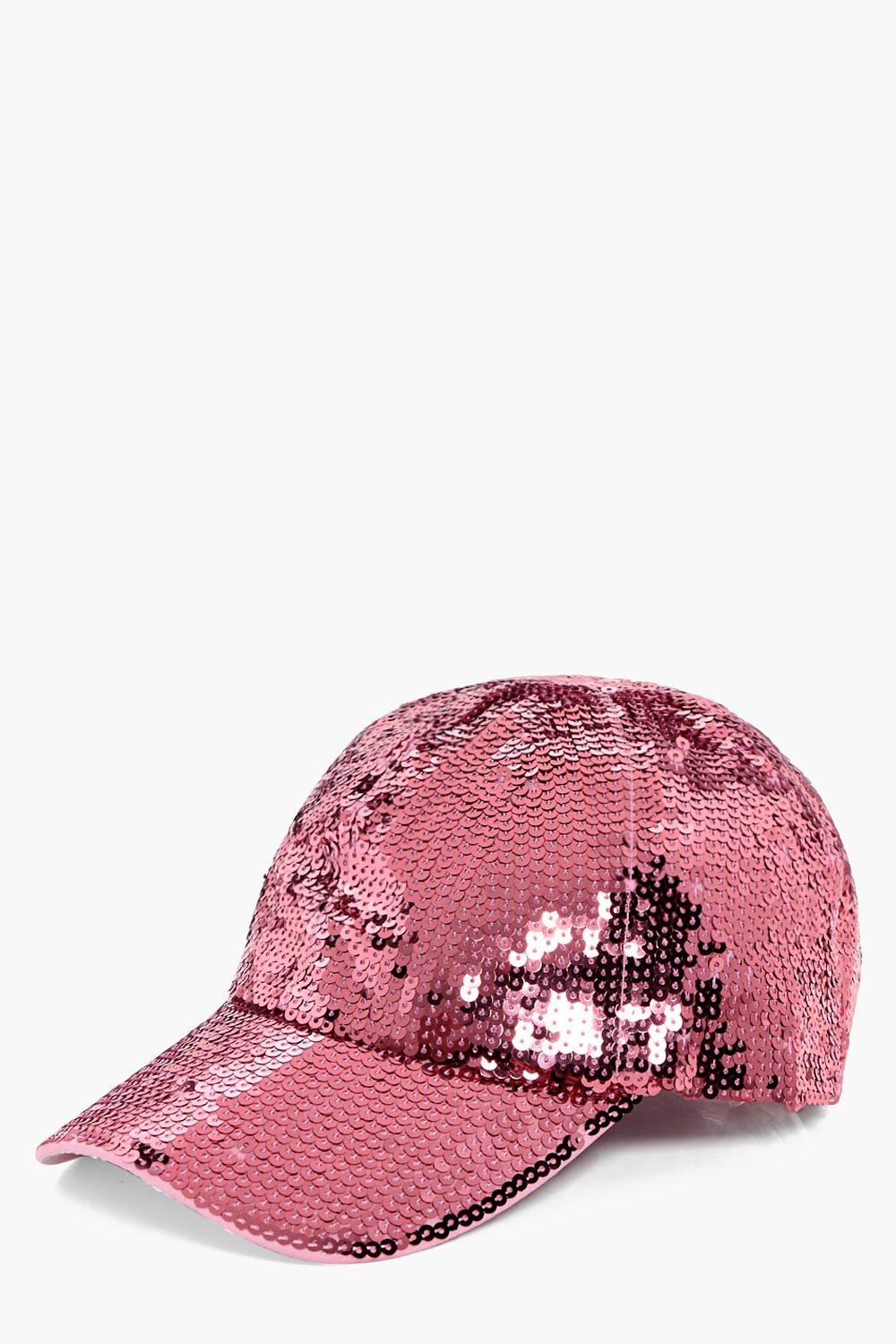Sequin Baseball Cap - pink - Ava Sequin Baseball C