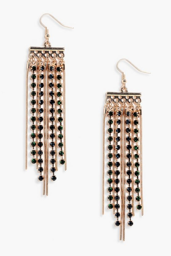 India Statement Diamante & Chain Earrings