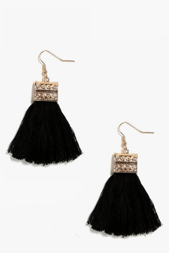 Engraved Detail Tassel Fringe Earrings