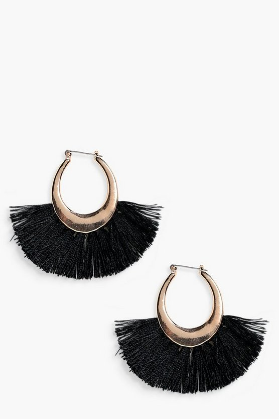 Violet Fringed Tassel Hoop Earrings